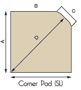 Corner Hearth Pad Diagram