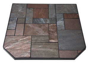 Hearth Pad with Random Cut Polished Copper Sections